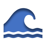 Blue Icon of a Wave Linked to the Flood Insurance Page