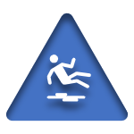 Blue Icon of a Slip and Fall linked to the General Liability Insurance Page