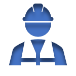 Blue Icon of a Construction Worker linked to the Workers Compensation Insurance Page